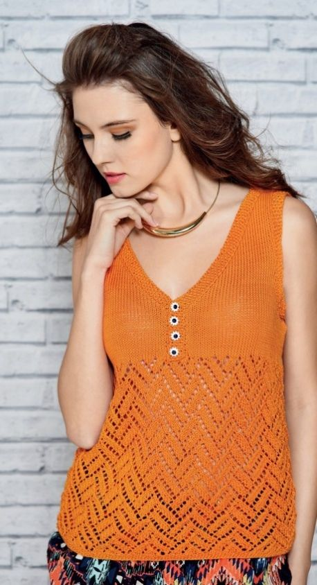 Neon lace summer top - free knitting pattern to download over the Let's Knit website!