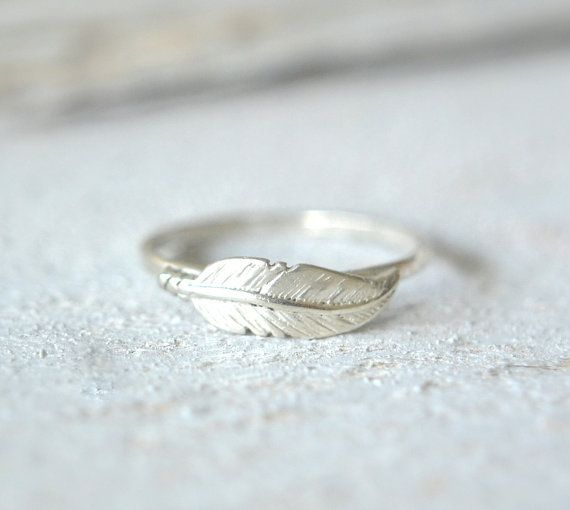Feather Ring. Silver Feather Ring Boho Ring Minimalist by Metalvine