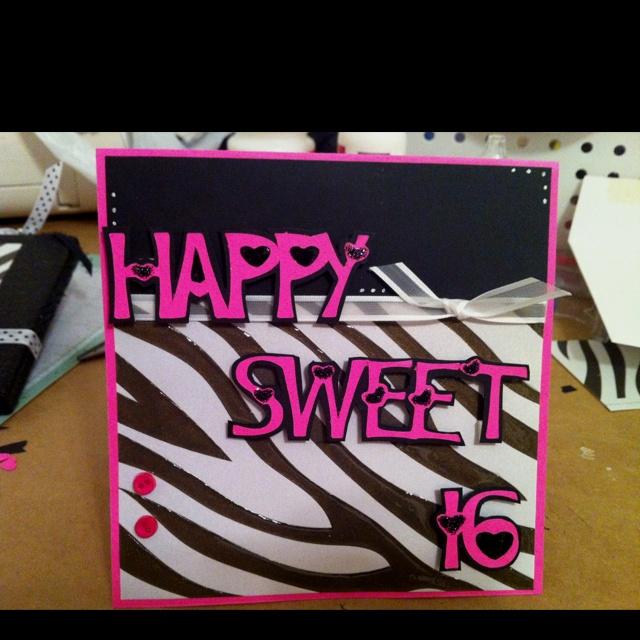 Sweet 16 Card Making Ideas Part - 17: Sweet 16 Birthday Card~ Handmade