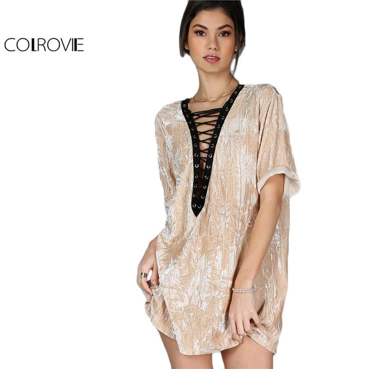 COLROVIE Lace Up Velvet Dress Women Camel Contrast Vintage Deep V Neck Summer Tee Dresses 2017 New Sexy Casual Cut Out Dress