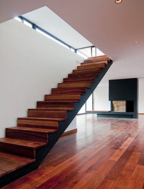 Escalera sin barandas madera escaleras pinterest for Escaleras kotas