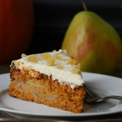 whole grain pumpkin-pear cake with ginger-cream cheese frosting ...