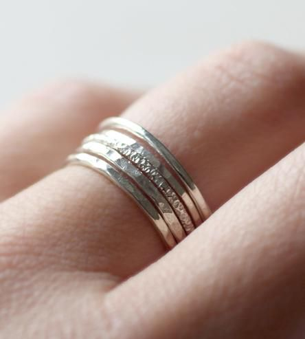Hammered Sterling Silver Stacking Rings by Sara Reynolds Jewelry on Scoutmob Shoppe