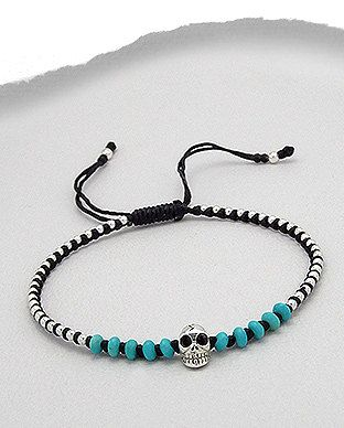 Black Friendship Bracelet with Sterling Silver by SunshineNShowers, £15.00