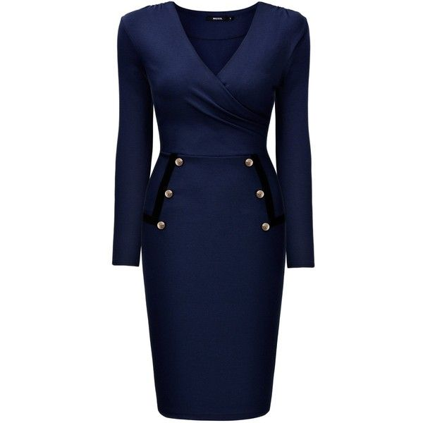 Miusol Women's Formal V Neck Navy Style Long Sleeve Slim Pencil Dress (795 UAH) ❤ liked on Polyvore featuring dresses, navy long sleeve dress, navy formal dress, long sleeve formal dresses, long sleeve pencil dress and v-neck dresses