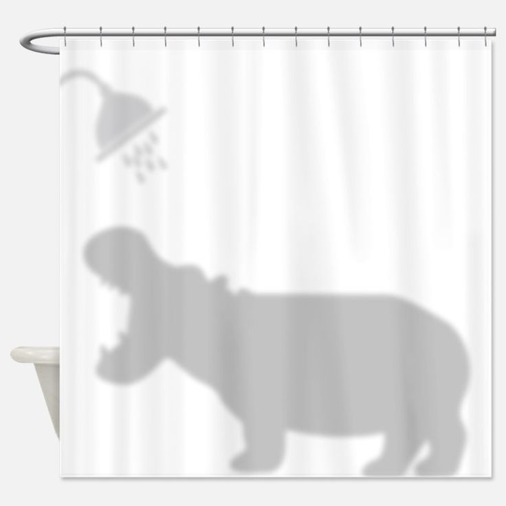 Funny Hippo Shadow Silhouette Shower Curtain For