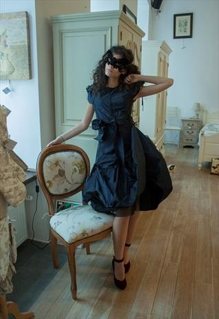 Dark Blue Taffeta Versatile Dress - Can Be Customized
