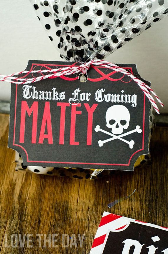 Pirate Party PRINTABLE Favor Tags INSTANT DOWNLOAD by lovetheday