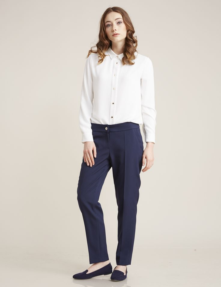 Narrow Leg Pants Navy Blue B7 19057 |  Kayra Online
