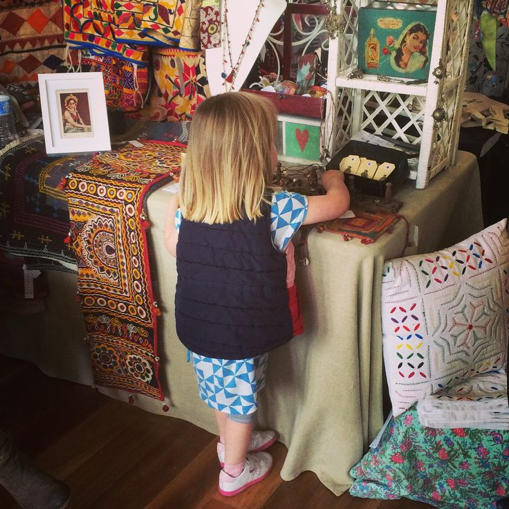Havally's smallest but most enthusiastic customer. This young lady loved it all, especially our vintage treasure bags.