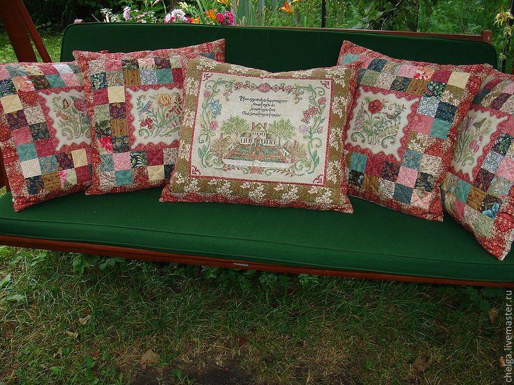 """Купить Декоративные интерьерные подушки """"Старинная вышивка"""" - декоративная подушка, лоскутная подушка, лоскутная техника"""