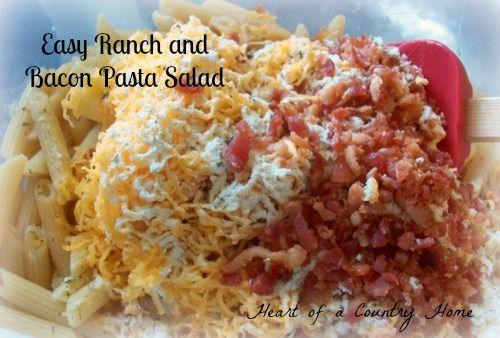 Easy Ranch and Bacon Pasta Salad - perfect for a July 4th cookout!