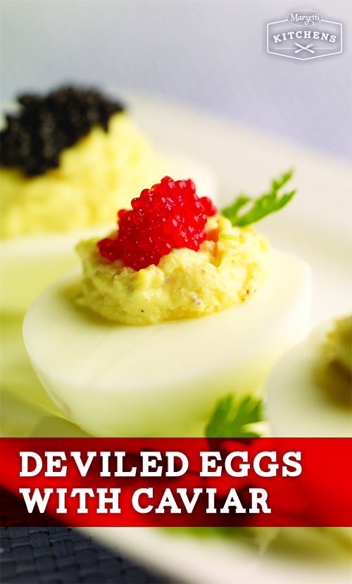 Deviled Eggs with Caviar: You can make an ordinary deviled eggs appetizer extraordinary by topping them with a spoonful of Romanoff Black Lumpfish Caviar.
