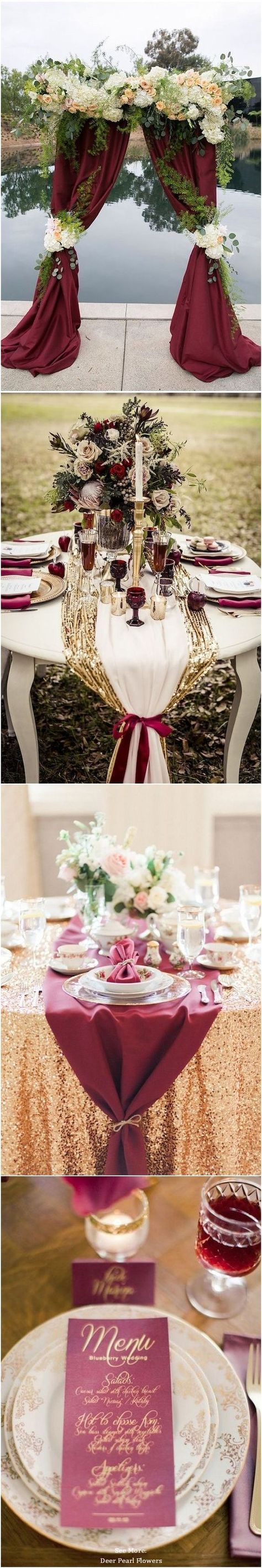 burgundy and gold fall wedding color ideas / http://www.deerpearlflowers.com/burgundy-and-gold-wedding-ideas/ #WeddingIdeasReception