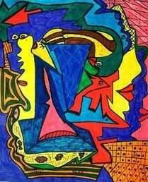 """""""Chaos"""" 2005 Faserstifte auf Karton 29 x 24 cm Helga Gruber Atelier"""
