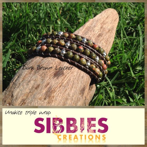 Unakite triple leather wrap by SibbiesCreations on Etsy