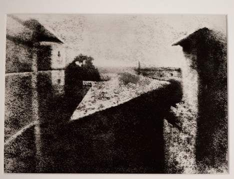 This is the first photograph ever in the world. The photograph of Joseph Nicephore Niepce 'View from office at Le Gras This image was taken in 1826 and unlike previous attempts not faded. The picture is normally found in the Harry Ransom Center at the University of Texas in the United States. Fropm sept. 9th it can be seen in the REM museum in Mannheim Germany