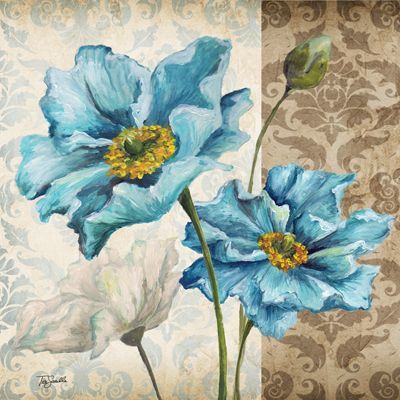 RB5213TS <br> Blue Poppy Damask II <br> 18x18