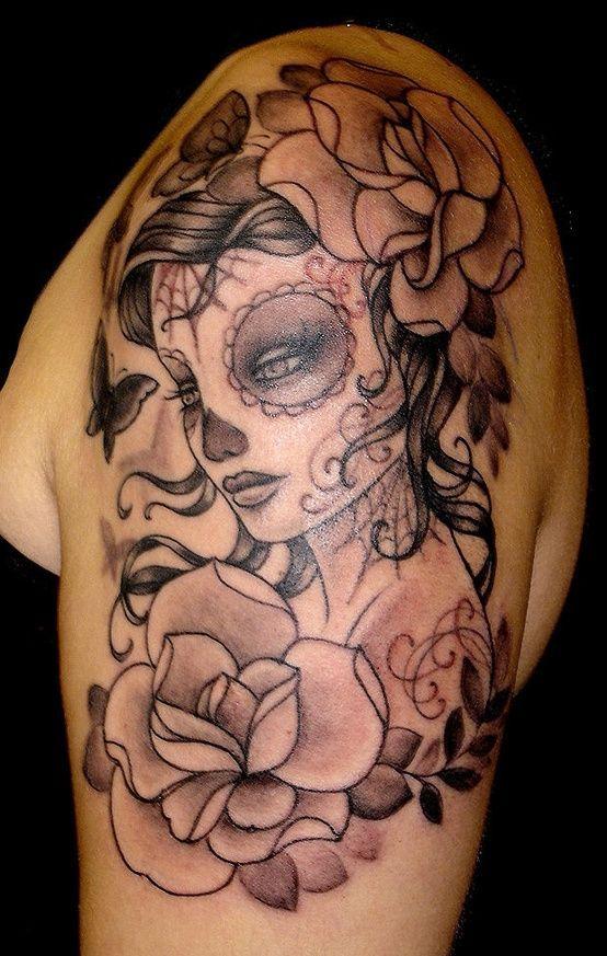 Skull Girl Tattoo | ... sugar skull tattoos butterfly day dead flower ...