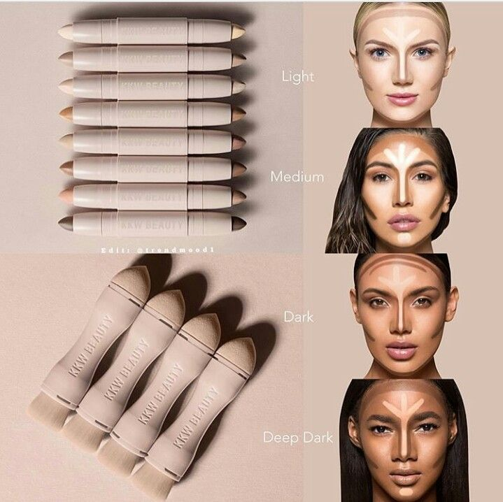 Kkw Highlight Contour Sticks W Duo Blending Brush Sponge Kkw Beauty Contour Makeup Kim Kardashian Makeup