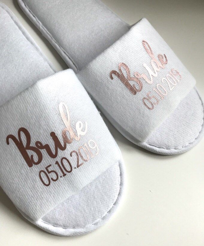 c3ddcfd2477 Wedding slippers, team bride slippers, Bridesmaid slippers, Bride ...