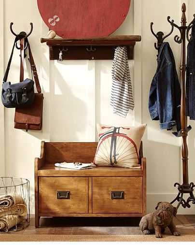 wade bench & hooks - pottery barn; simple example for our mudroom