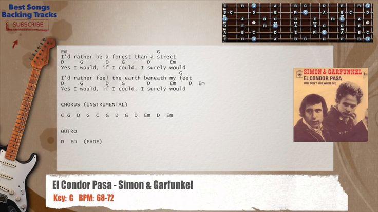 El Condor Pasa - Simon & Garfunkel Guitar Backing Track with chords and lyrics