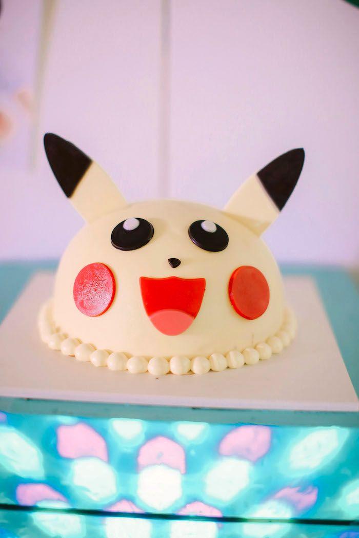 Pikachu Cake from a Pokemon Beach Birthday Party on Kara's Party Ideas | KarasPartyIdeas.com (18)