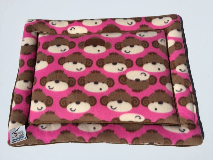 Pink Dog Bed, Cat Bed Mat, Small Kennel Mat, Monkey Fleece, Gift for Cat Lover, Dog Crate Pad, House Pad, Monkey Dog Bed, Made in Colorado by ComfyPetPads on Etsy