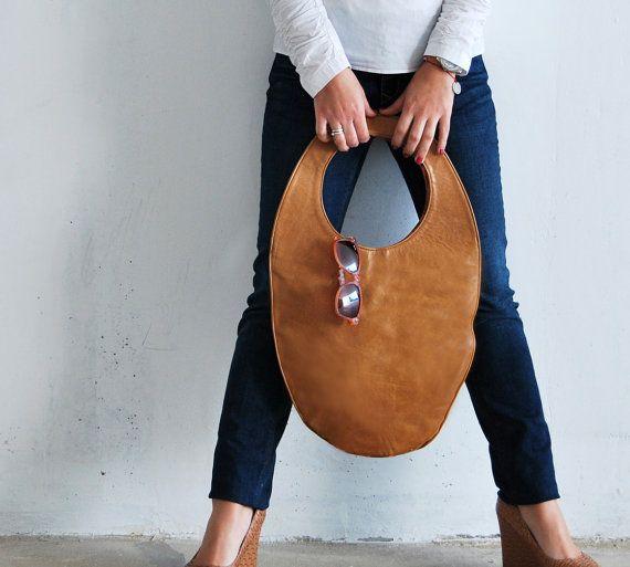 Camel tote bag large leather handbag camel brown oval bag - this Etsy shop is great!