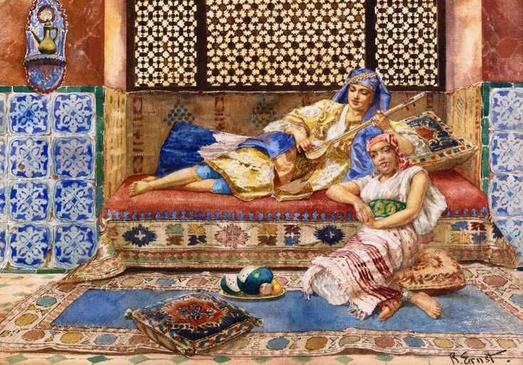 Rudolf Ernst, Harem Solg, date unknown, Watercolor and pencil on paperboard, 32 x 46,6 cm, Private Collection