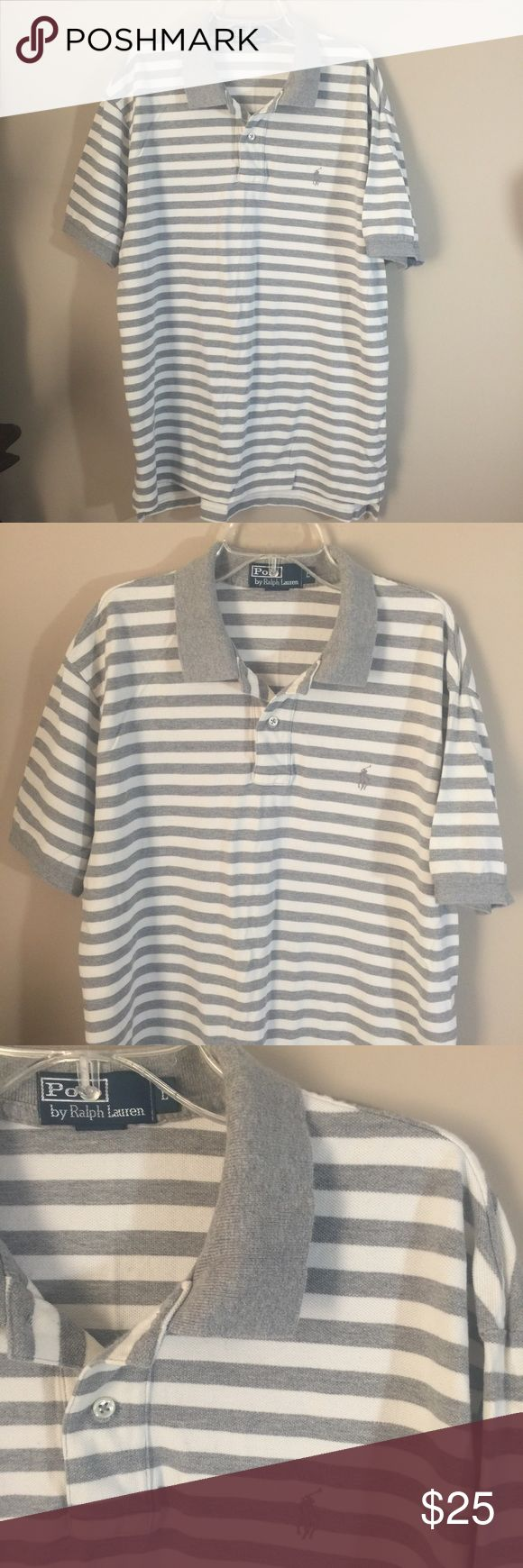 Ralph Lauren Polo collar shirt top shirt sleeve L Polo by Ralph Lauren shirt sleeve collar shirt. Size Large. Good preowned condition. 100% cotton. Check out my others- bundle- and save! Gray and white stripe Polo by Ralph Lauren Shirts Polos