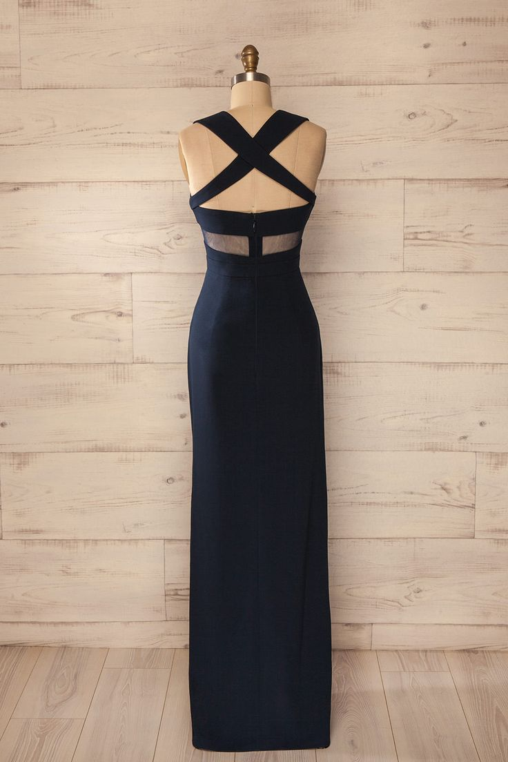 Pampelune Navy - Navy mesh cut-outs cross back gown