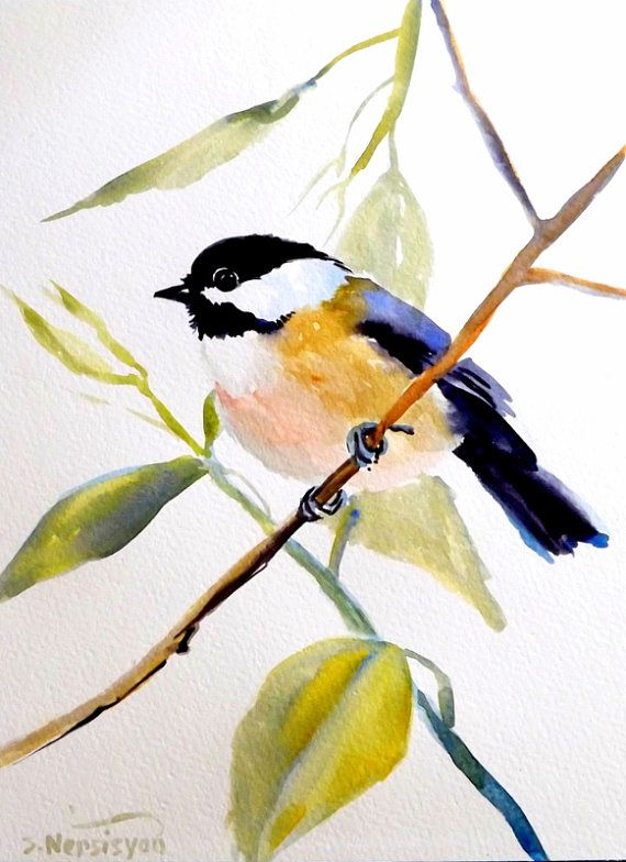 Etsy Transaction - Chickadee, Original watercolor painting, 12 X 9, bird lover, nursery art, kids wall art, illustration, bird, birds