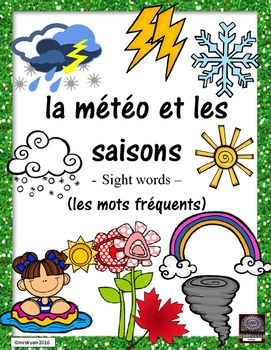 "Use these 26 French flashcards to help your students learn expressions of ""la météo""! Included are 7.5 pages that can be used either as posters in the classroom or cut up to be individual word wall flashcards. Use all of the 26 vocabulary cards or choose the ones you wish your"
