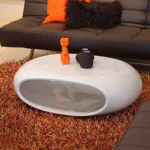 design couchtisch space wei hochglanz 100x70cm oval - Designer Couchtisch Tiefen See