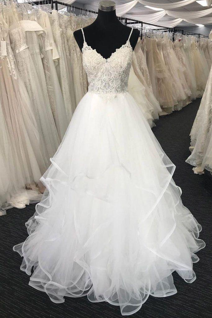White Tulle V Neck Lace Long Prom Dress White Tulle Wedding Dress Wedding Dress Material White Tulle Wedding Dress Wedding Dresses