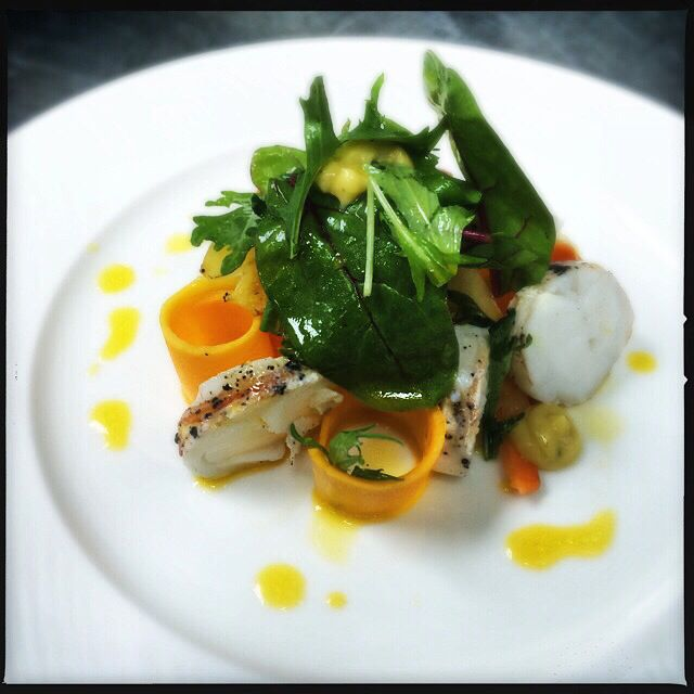 Lobster salad with pickled butternut and a passion fruit dressing