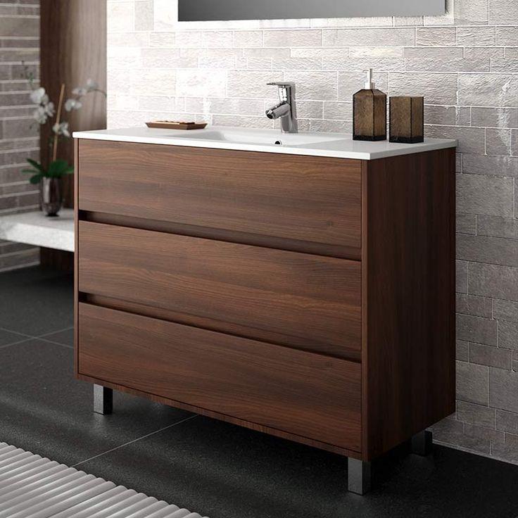 meuble salle de bain 100 cm 3 tiroirs plan vasque porcelaine acacia - 100 Cm Plan Vasque