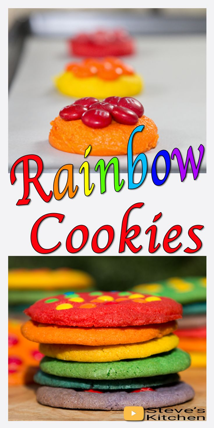 Rainbow Cookies with M&M's on top make a wonderful gift. Join in the fun as I make these fantastic Rainbow Coloured Cookies. I think I went a little crazy with the number of cookies I made in this video but they were so good and I had lots of willing helpers ready to eat them all. They certainly didn't last very long I can tell you. Full recipe here: https://youtu.be/K_iS6tXyVCw