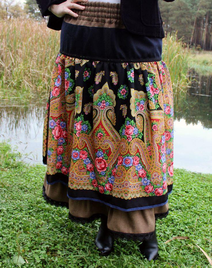 """Купить Теплая длинная юбка """"Очей очарованье"""" - коричневый, цветочный, теплая юбка, юбка из платка"""