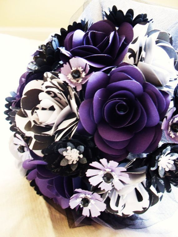 Purple Black And White Bride Groom Set