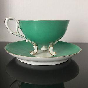 Splendide Tasse Porcelaine de Paris Napoléon III Fond Vert Forme Atypique XIXè | eBay