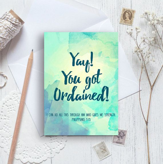 Yay! You Got Ordained! A6 Izzy & Pop Card - Ordination Card - Christian Cards - Modern Church Card