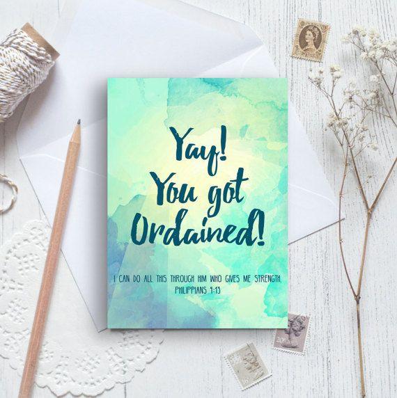 Yay! You Got Ordained! A6 Izzy & Pop Card - Ordination Card - Christian Cards - Modern Church Card