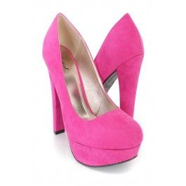 Fuchsia Round Closed Toe Chunky Pump Heels Faux Suede