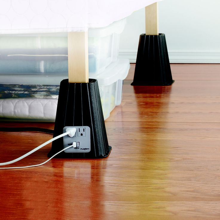 Create more space AND have more outlets? How awesome are these bed risers?