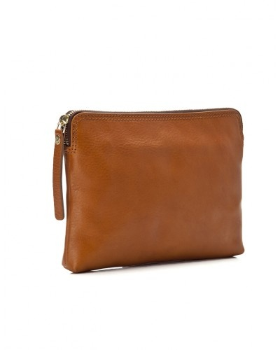 Leather clutch bag with strap: Leather Clutch