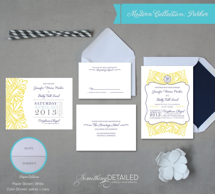 Vintage Preppy Wedding Invitation Suite with Modern