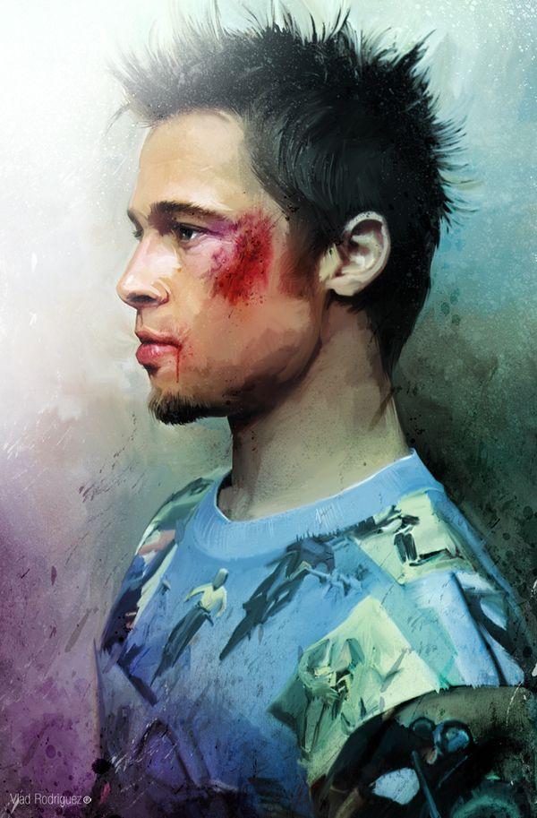 Illustrator Vlad Rodriguez: Oil Paintings, Tyler Durden, Digital Paintings, Best Movie, Bradpitt, Art Prints, Fight Club, Popular Culture, Fans Art